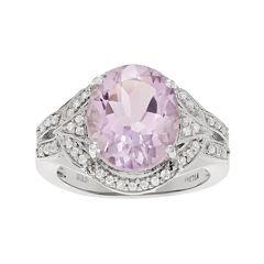 Genuine Pink Quartz and White Topaz Sterling Silver Ring