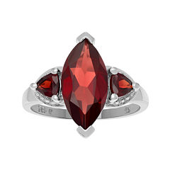 Genuine Garnet Three-Stone Sterling Silver Ring