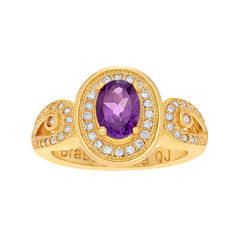 Genuine Amethyst and Cubic Zirconia 14K Gold Over Brass Ring