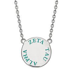 Zeta Tau Alpha Enamel Sterling Silver Disc Pendant Necklace