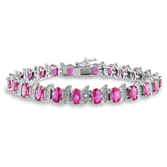 Womens 7 Inch Pink Sapphire Sterling Silver Link Bracelet