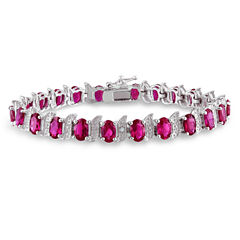 Womens Red Ruby Sterling Silver Tennis Bracelet