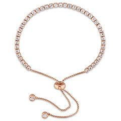 Womens White Topaz Sterling Silver Bolo Bracelet