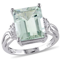 Womens Diamond Accent Green Amethyst Sterling Silver Cocktail Ring
