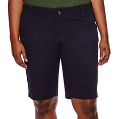 Arizona Woven Bermuda Shorts-Juniors Plus