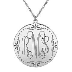Personalized Sterling Silver Vine Monogram Pendant Necklace