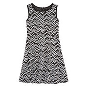 Total Girl® Sleeveless Chevron A-Line Dress - Girls 7-16