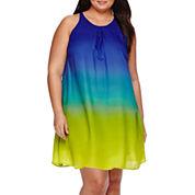 Worthington® Sleeveless Pleated-Neck Shift Dress - Plus