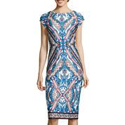 Worthington® Cap-Sleeve Print Scuba Dress