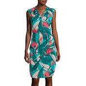 Liz Claiborne® Sleeveless V-Neck Tropical Dress
