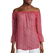 I 'Heart' Ronson® Long-Sleeve Off-the-Shoulder Bandana Chiffon Top
