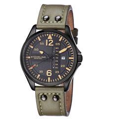 Stuhrling Mens Green Strap Watch-Sp15163