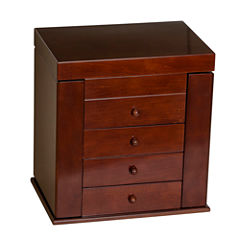 Mele & Co. Wooden Jewelry Box in Walnut Finish