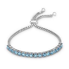 Womens Blue Topaz Sterling Silver Bolo Bracelet