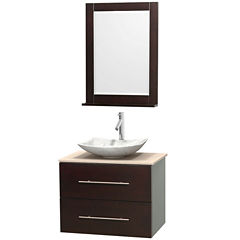 Centra 30 inch Single Bathroom Vanity; Ivory Marble Countertop; Arista White Carrera Marble Sink; and 24 inch Mirror