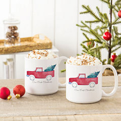 Cathy's Concepts Personalized Christmas Tree Truck 2-pc. Coffee Mug