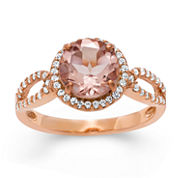 Simulated Morganite & Lab Created White Sapphire 14K Gold Over Silver Ring