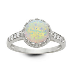 Simulated Opal Sterling Silver Ring