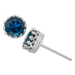 Genuine London Blue Topaz Sterling Silver Earrings