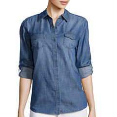 Arizona Long-Sleeve Denim Button-Front Shirt - Juniors
