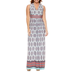 R & K Originals Sleeveless Partially Lined Maxi Dress-Petites