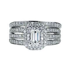 Womens 1 1/2 CT. T.W. Emerald White Diamond 14K Gold Engagement Ring