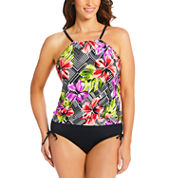 St. John's Bay Floral Blouson Swimsuit Top or Adjustable Side Brief