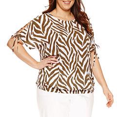 Liz Claiborne Short Sleeve Scoop Neck Woven Blouse-Plus