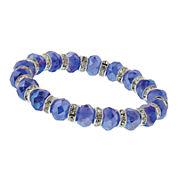 1928® Jewelry Silver-Tone Blue Crystal Beaded Stretch Bracelet
