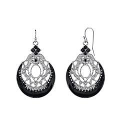 1928® Jewelry Silver-Tone Black Filigree Drop Earrings