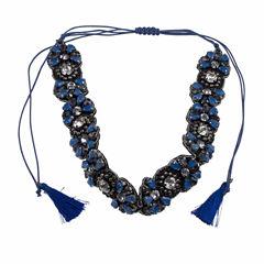 Jardin Womens Blue Brass Choker Necklace