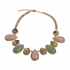 Jardin Womens Multi Color Abalone Brass Collar Necklace
