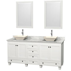 Acclaim 72 inch Double Bathroom Vanity with WhiteCarrera Marble Countertop and Pyra Bone Sinks