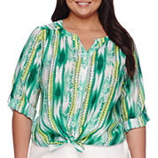 Alyx® 3/4-Sleeve Tie Front Print Top - Plus