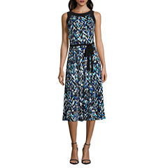 Perceptions Sleeveless Pattern Fit & Flare Dress
