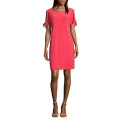 Ronni Nicole Short Sleeve Sheath Dress-Petites