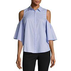 Worthington Sleeveless Y Neck Woven Blouse-Talls