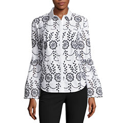 Worthington Long Sleeve Y Neck Woven Blouse-Talls