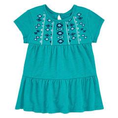 Arizona Crew Neck Short Sleeve Blouse - Toddler Girls