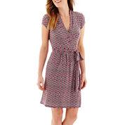 Liz Claiborne® Short-Sleeve Belted Wrap Dress