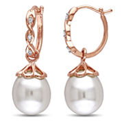 Cultured Freshwater Pearl & Diamond Accent 10K Rose Gold Drop Earrings