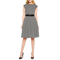 Danny & Nicole Sleeveless Jacquard Fit & Flare Dress