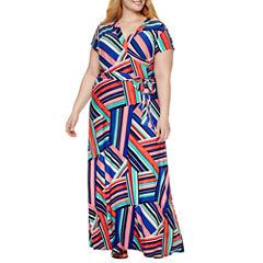R & K Originals Short Sleeve Maxi Dress-Plus