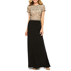 Jackie Jon Short Sleeve Evening Gown