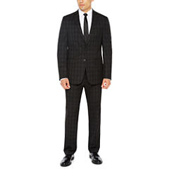 Van Heusen Stretch Black Check Suit Separates-Slim