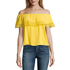 by&by Sleeveless Boat Neck Crepe Blouse-Juniors