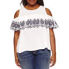 Boutique + Short Sleeve Cold Shoulder Embroidered Woven Blouse-Plus