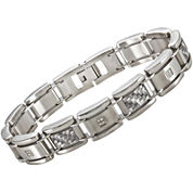 Mens Two-Tone Stainless Steel Link Bracelet