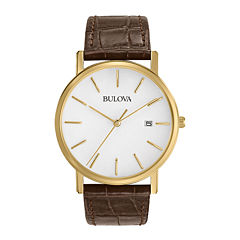Bulova® Mens Classic Brown Leather Strap Watch 97B100