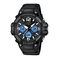 Casio® Mens Black Resin Strap Chronograph Sport Watch MCW100H-1A2VCF